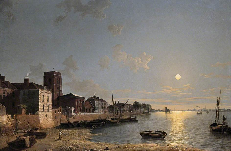 Cheyne Walk In Chelsea, London, By Moonlight by Henry Pether (1828-1865, United Kingdom)