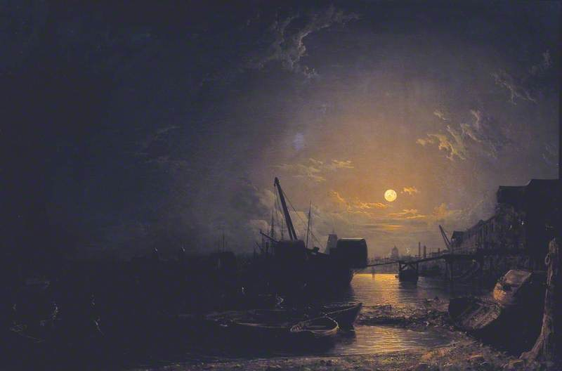 Greenwich Reach, Moonlight by Henry Pether (1828-1865, United Kingdom)