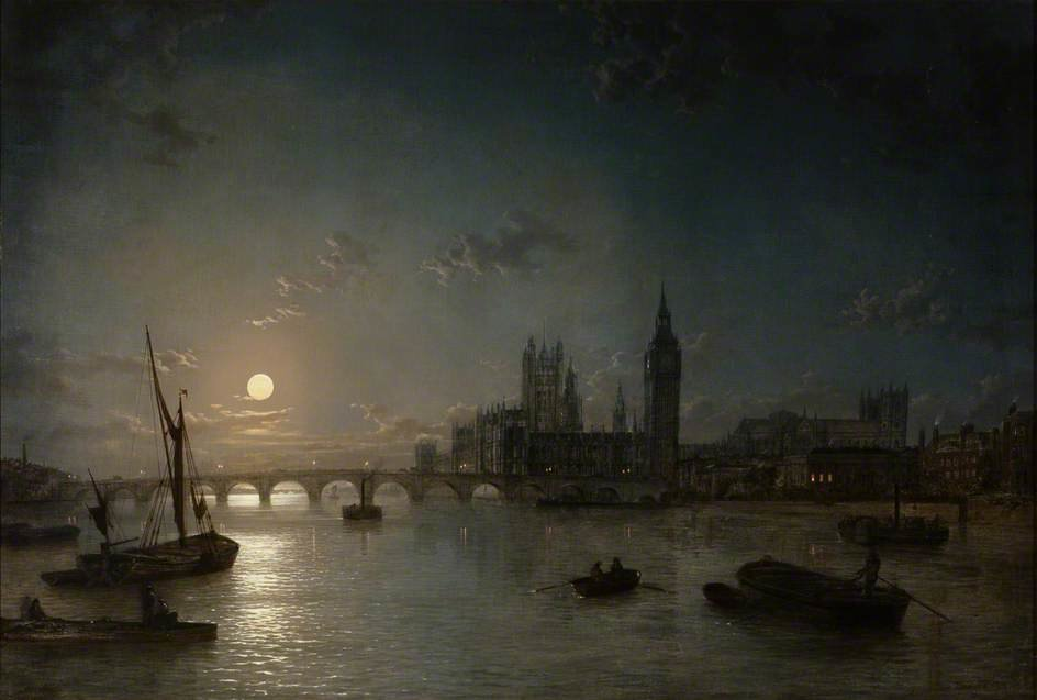 Houses Of Parliament From The Thames By Moonlight by Henry Pether (1828-1865, United Kingdom)