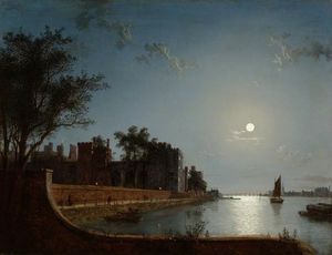 Henry Pether - Lambeth Palace By Moonlig..