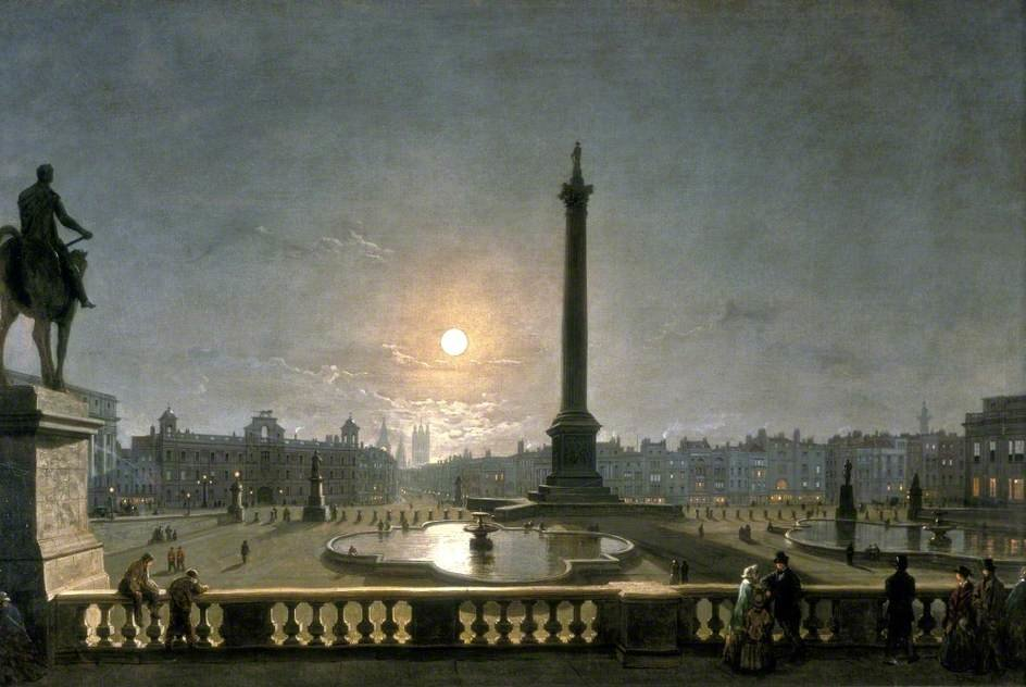 Northumberland House And Whitehall From The North Side Of Trafalgar Square, London, By Moonlight by Henry Pether (1828-1865, United Kingdom) | Oil Painting | ArtsDot.com