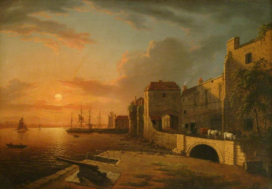 Southampton Town Quay At Sunset by Henry Pether (1828-1865, United Kingdom)