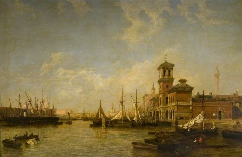 View Of The Thames, Pool Of London, From Billingsgate To London Bridge by Henry Pether (1828-1865, United Kingdom) | Painting Copy | ArtsDot.com