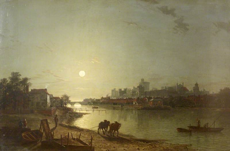 View Of Windsor Castle Looking At The Lower Ward By Moonlight by Henry Pether (1828-1865, United Kingdom) | ArtsDot.com
