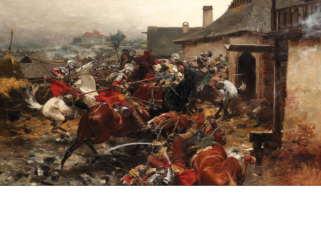 Order Museum Quality Reproductions : A Cavalry Skirmish On The Outskirts Of A Town by Jozef Brandt (1841-1915) | ArtsDot.com