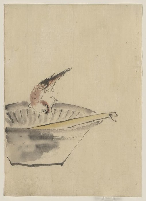 A Bird Perched On The Edge Of A Bowl, With Head Cocked, Looking At A Utensil In The Bowl by Katsushika Hokusai (1760-1849, Japan) | ArtsDot.com