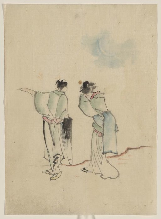 A Man And A Woman, Seen From Behind by Katsushika Hokusai (1760-1849, Japan) | ArtsDot.com