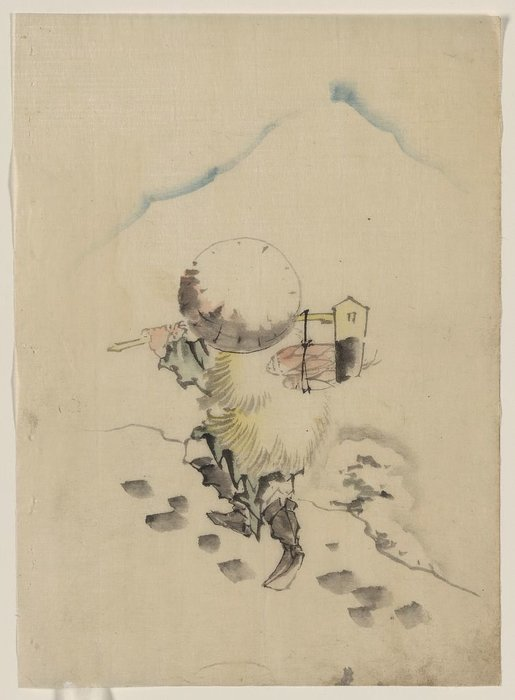 A Man, Wearing A Conical Hat, A Straw Or Feather Outer Garment by Katsushika Hokusai (1760-1849, Japan) | ArtsDot.com