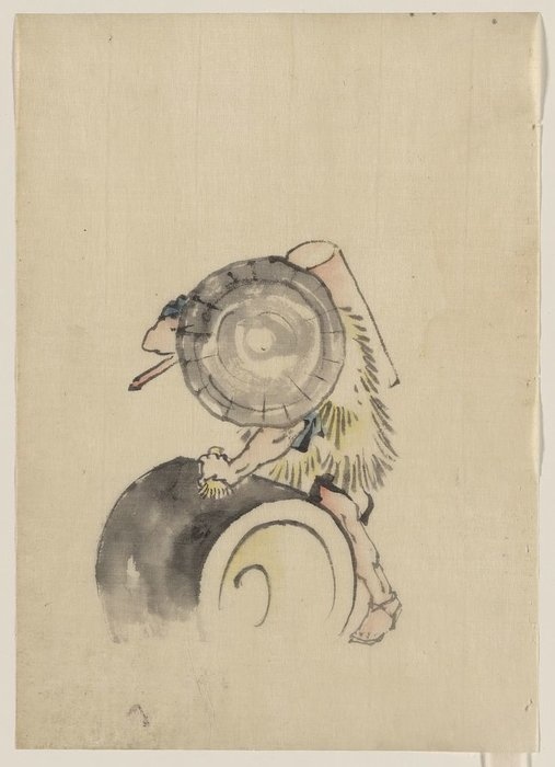 A Man, Wearing A Large Conical Hat And A Straw Or Feather by Katsushika Hokusai (1760-1849, Japan) | ArtsDot.com