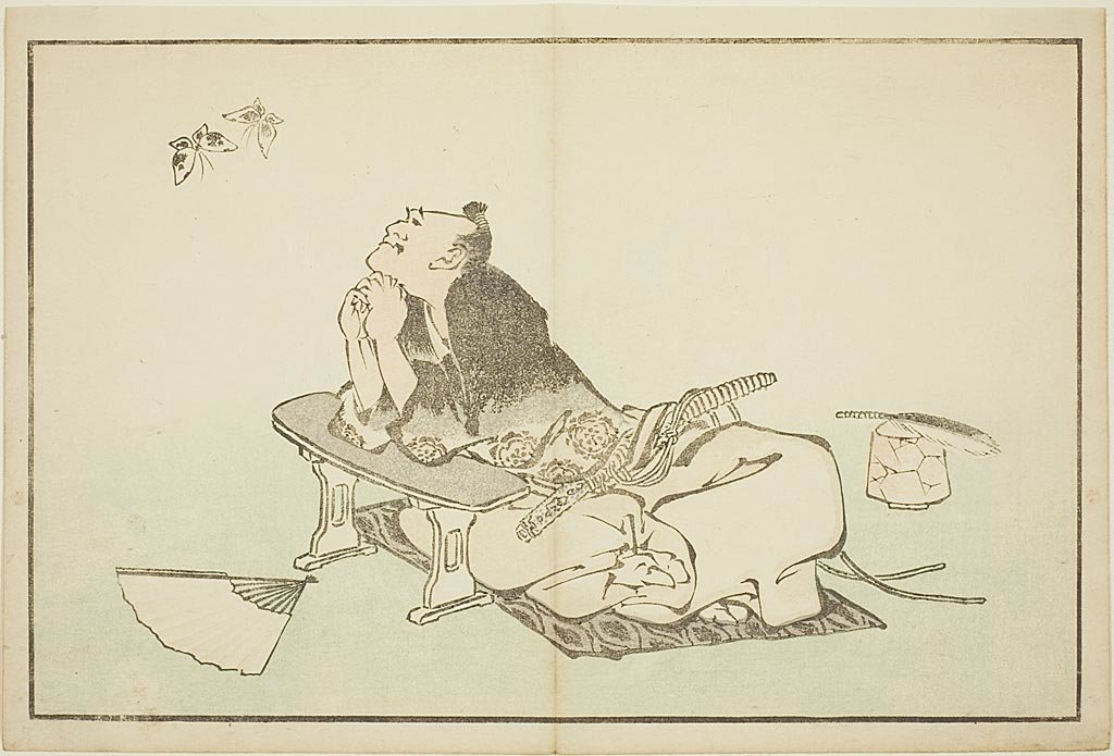 Order Painting Copy : A Philosopher Watching A Pair Of Butterflies by Katsushika Hokusai (1760-1849, Japan) | ArtsDot.com
