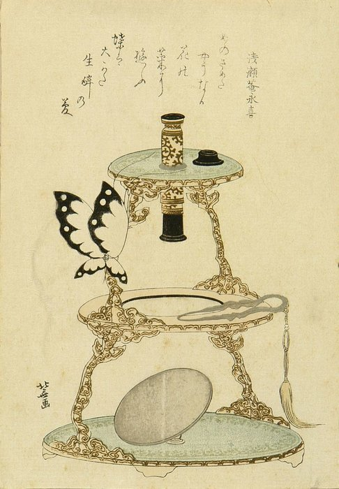 A Surimono Of A Microscope And A Butterfly Perched On by Katsushika Hokusai (1760-1849, Japan) | ArtsDot.com