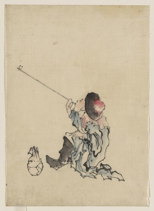 A Traveler, Seated, Wearing A Robe, Boots, And Rounded-top by Katsushika Hokusai (1760-1849, Japan) | ArtsDot.com