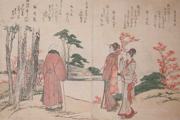 Bijin And A Priest by Katsushika Hokusai (1760-1849, Japan) | Art Reproduction | ArtsDot.com