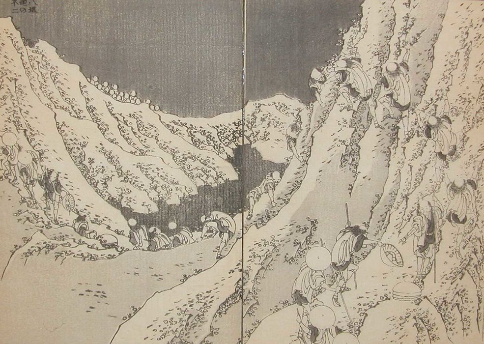 Circling The Crater Of Fuji by Katsushika Hokusai (1760-1849, Japan) | Museum Quality Reproductions | ArtsDot.com