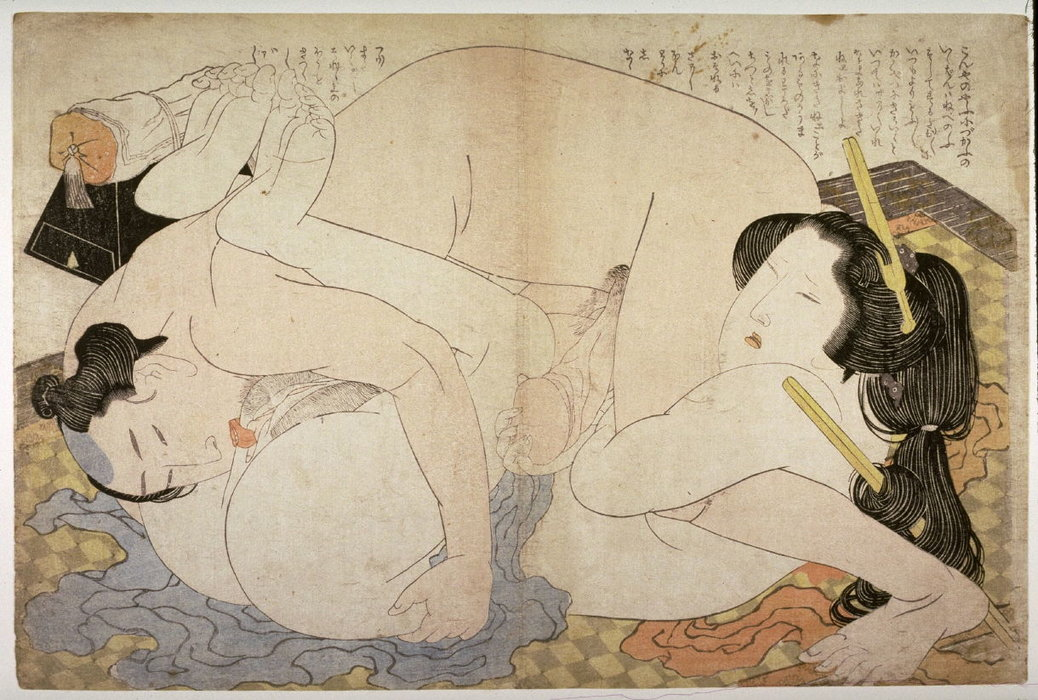 Couple Embracing On A Checkered Mat by Katsushika Hokusai (1760-1849, Japan)