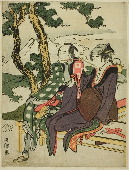 Evening Glow For Date No Yosaku And Seki No Koman by Katsushika Hokusai (1760-1849, Japan) | ArtsDot.com