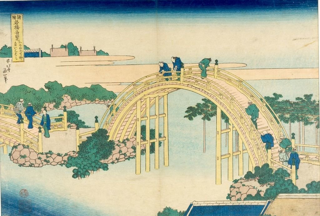 Famous Bridges From Various Provinces by Katsushika Hokusai (1760-1849, Japan) | Museum Art Reproductions | ArtsDot.com