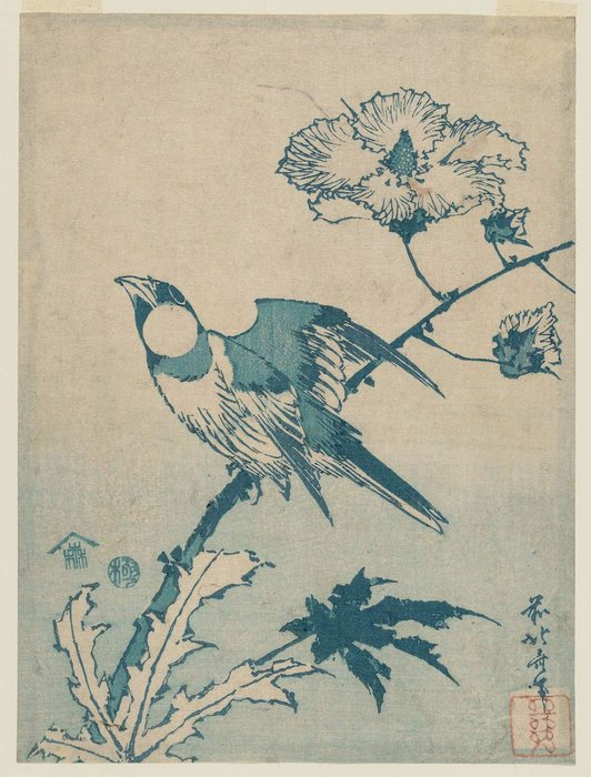 Finch On Hibiscus by Katsushika Hokusai (1760-1849, Japan) | Museum Art Reproductions | ArtsDot.com