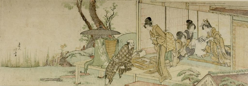 Four Women Buying Combs From A Vendor by Katsushika Hokusai (1760-1849, Japan) | ArtsDot.com