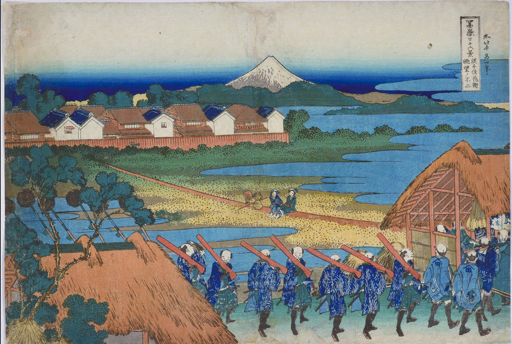 Fuji Viewed From The Pleasure Quarters At Senju by Katsushika Hokusai (1760-1849, Japan) | ArtsDot.com