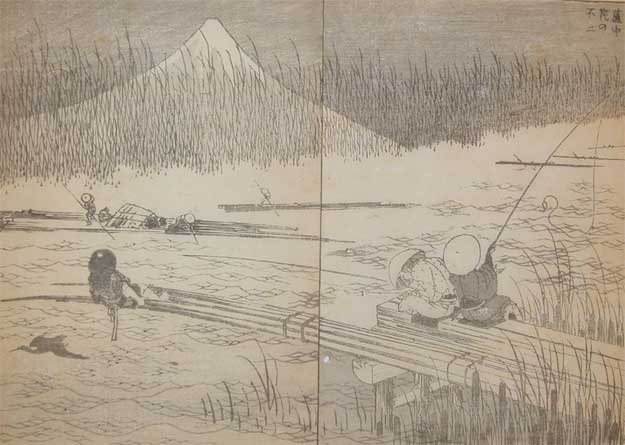Fuji With Rafts In The Rushes by Katsushika Hokusai (1760-1849, Japan)