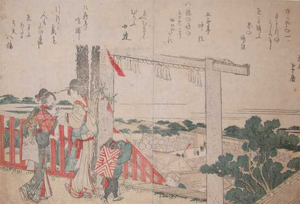 Gate Of The Shrine by Katsushika Hokusai (1760-1849, Japan) | Museum Quality Reproductions | ArtsDot.com