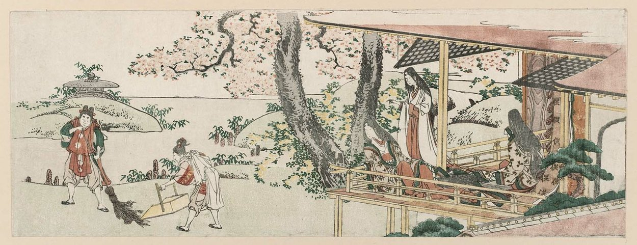 Ladies On The Veranda Of A Nobleman`s House Watching by Katsushika Hokusai (1760-1849, Japan) | Museum Quality Reproductions | ArtsDot.com