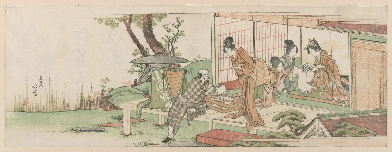 Ladies Trading With A Peddler Of Cosmetics And Accessories by Katsushika Hokusai (1760-1849, Japan) | ArtsDot.com