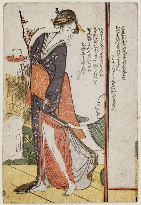 Man Pulling Woman's Skirt by Katsushika Hokusai (1760-1849, Japan)