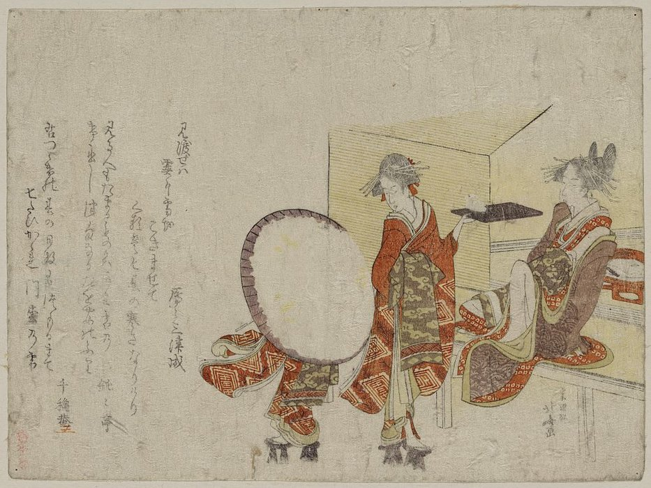 Presenting A Snow Bunny On A Tray In Front Of A Tea Shop by Katsushika Hokusai (1760-1849, Japan) | Painting Copy | ArtsDot.com