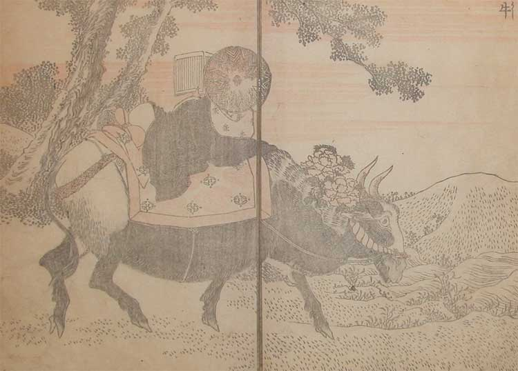 Reading On An Ox by Katsushika Hokusai (1760-1849, Japan) | Oil Painting | ArtsDot.com