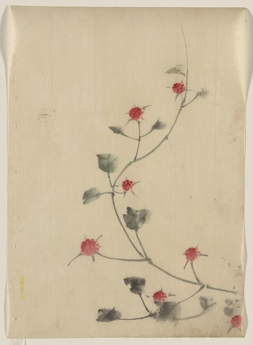 Small Red Blossoms On A Vine by Katsushika Hokusai (1760-1849, Japan)