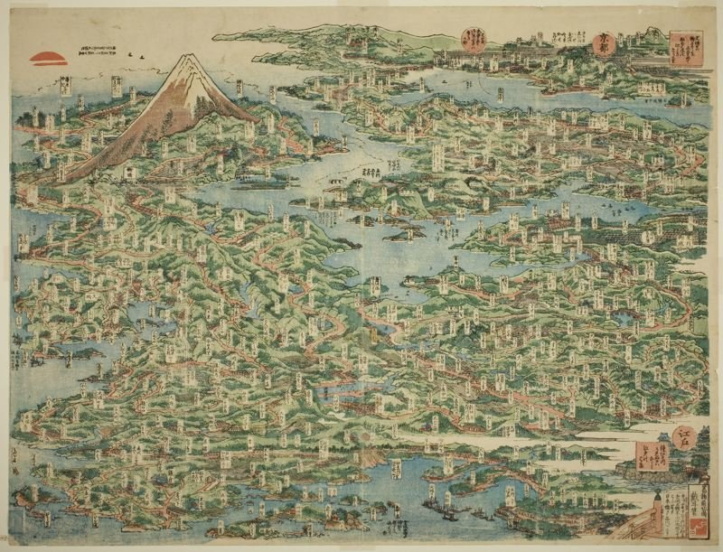 The Famous Places On The Tokaido Road In One View by Katsushika Hokusai (1760-1849, Japan) | Museum Quality Reproductions | ArtsDot.com