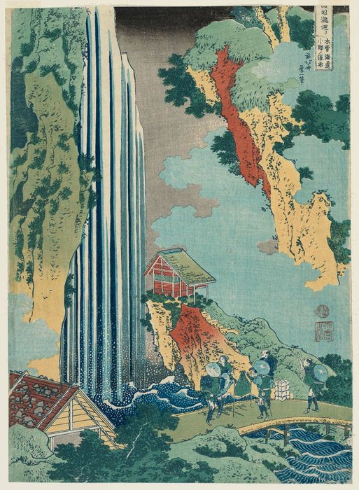 The Waterfall At Ono On The Kisokaidô Road by Katsushika Hokusai (1760-1849, Japan) | Oil Painting | ArtsDot.com