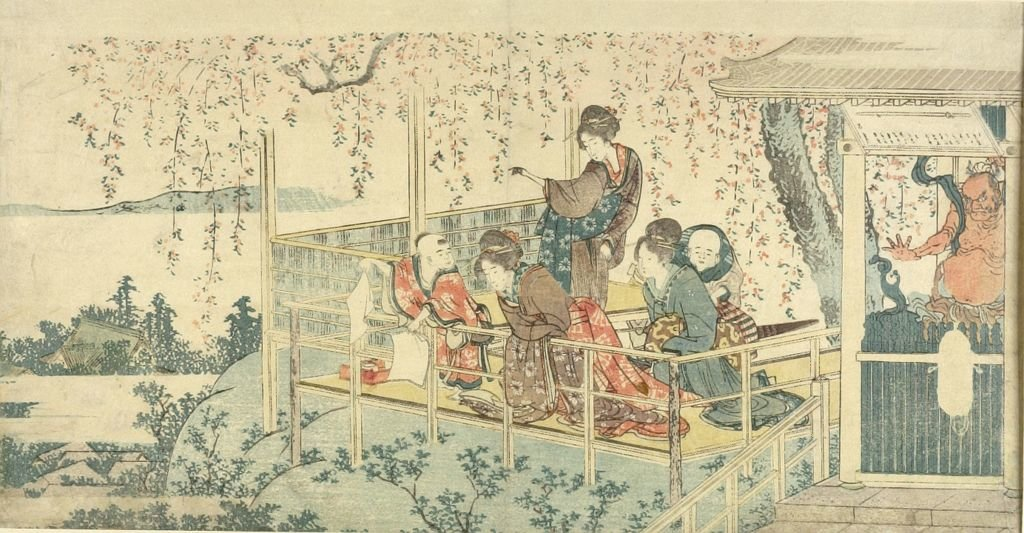 Three Women And Two Children On Balcony by Katsushika Hokusai (1760-1849, Japan) | Museum Art Reproductions | ArtsDot.com