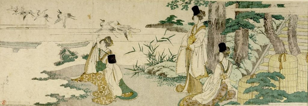 Three Women Tagging Cranes With Poetry Slips by Katsushika Hokusai (1760-1849, Japan)