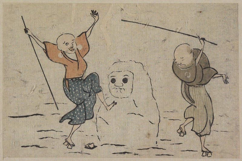 Two Blind Men And Snowman by Katsushika Hokusai (1760-1849, Japan) | ArtsDot.com