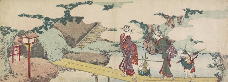 Two Women And A Boy On Boardwalk by Katsushika Hokusai (1760-1849, Japan) | ArtsDot.com