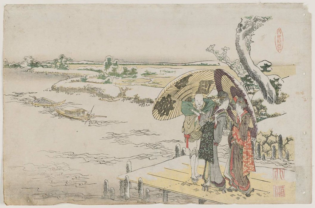 Two Women And Servant On Wharf In Snow by Katsushika Hokusai (1760-1849, Japan)