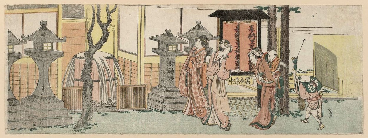 Visitors To The Inari Shrine At Ôji by Katsushika Hokusai (1760-1849, Japan) | Art Reproduction | ArtsDot.com