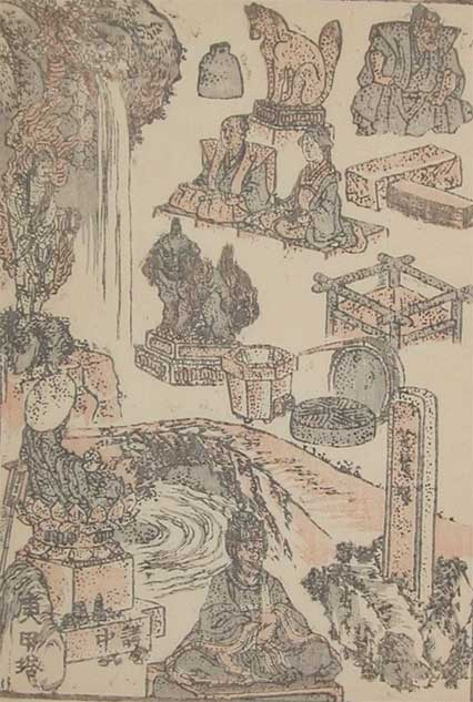 Waterfall, Rapids And Stone Sculptures by Katsushika Hokusai (1760-1849, Japan) | ArtsDot.com