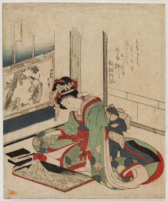 Woman Making A Bonseki by Katsushika Hokusai (1760-1849, Japan) | ArtsDot.com