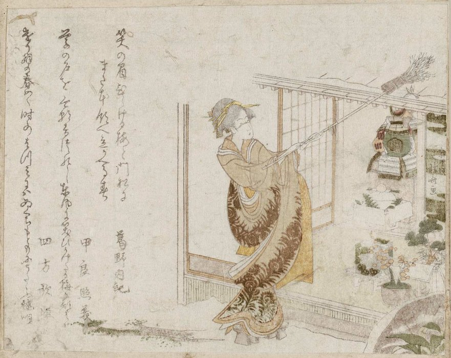 Woman Using Broom To Knock Shuttlecock From Roof by Katsushika Hokusai (1760-1849, Japan) | Oil Painting | ArtsDot.com