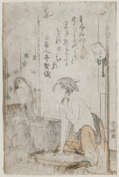 Woman Washing Her Face by Katsushika Hokusai (1760-1849, Japan) | ArtsDot.com