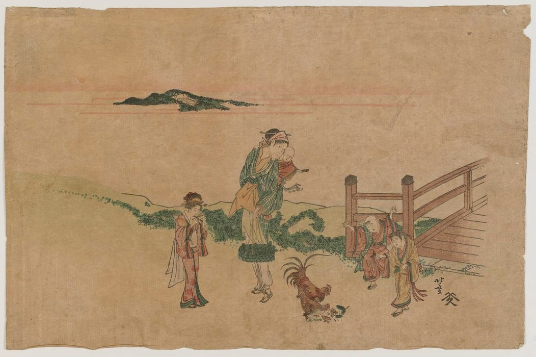 Woman, Children, And Chickens by Katsushika Hokusai (1760-1849, Japan)