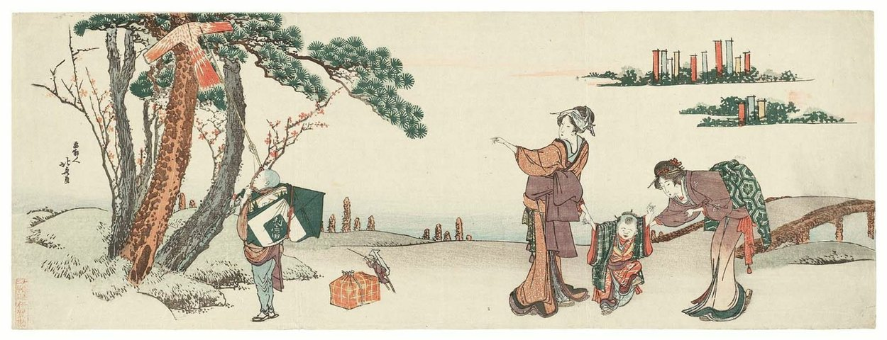 Women And Children Returning From An Inari Shrine Festival by Katsushika Hokusai (1760-1849, Japan)