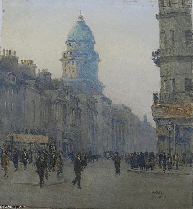 Figures And An Omnibus On A Busy Street by Rose Maynard Barton (1856-1930, Ireland)
