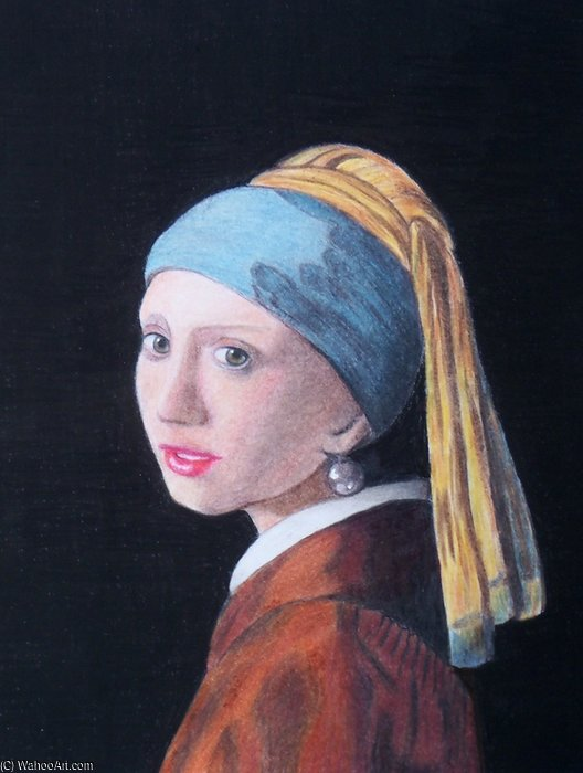 Girl With Pearl Earring Coloured Pencil by Rose Maynard Barton (1856-1930, Ireland)
