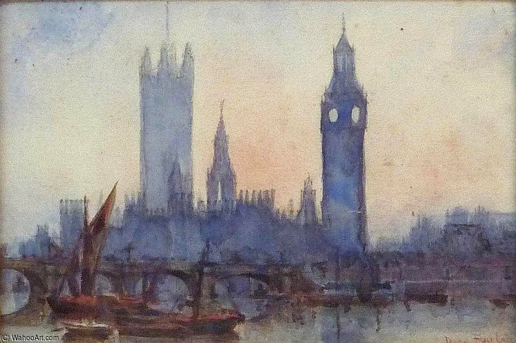 London From The River by Rose Maynard Barton (1856-1930, Ireland)