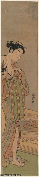 Woman Looking At Goldfish In Bowl by Suzuki Harunobu (1725-1770, Japan) | Painting Copy | ArtsDot.com